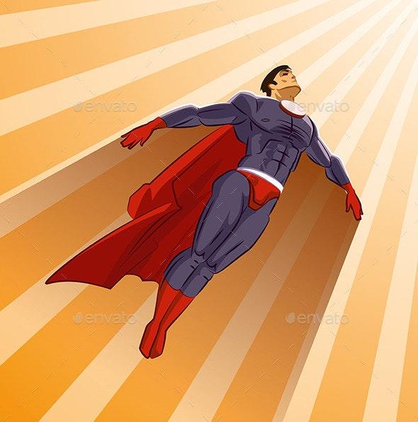 Superhero Flying Up - People Characters