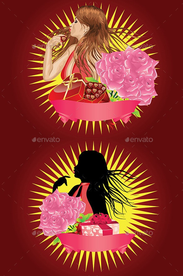 Girl with Gift Box and Ribbon - People Characters