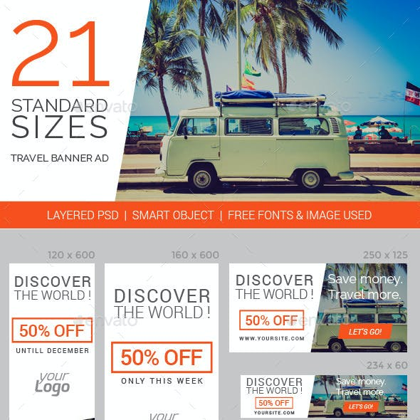Travel & Vacation Web Ad Marketing Banners