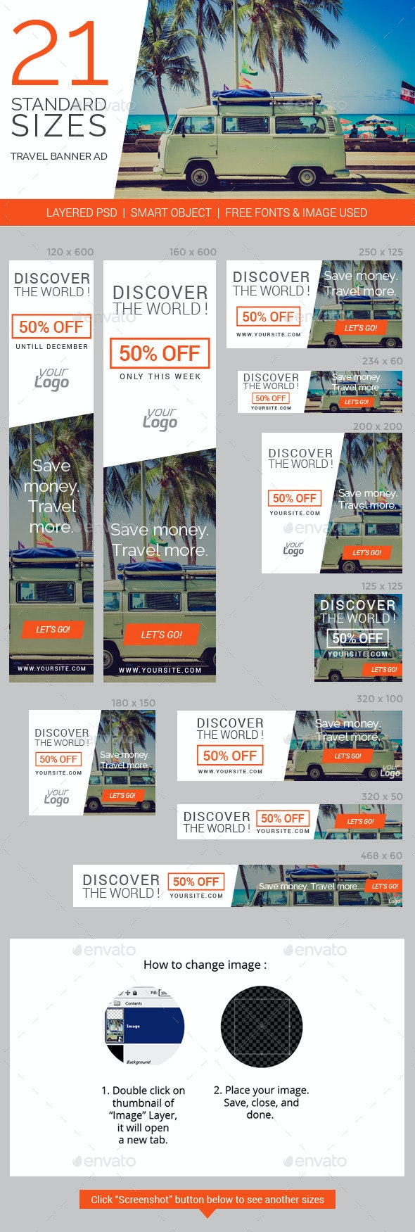 Travel & Vacation Web Ad Marketing Banners - Banners & Ads Web Elements