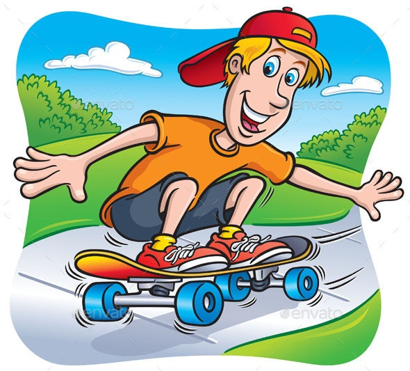 Skateboarding Teen Riding on the Sidewalk - Sports/Activity Conceptual