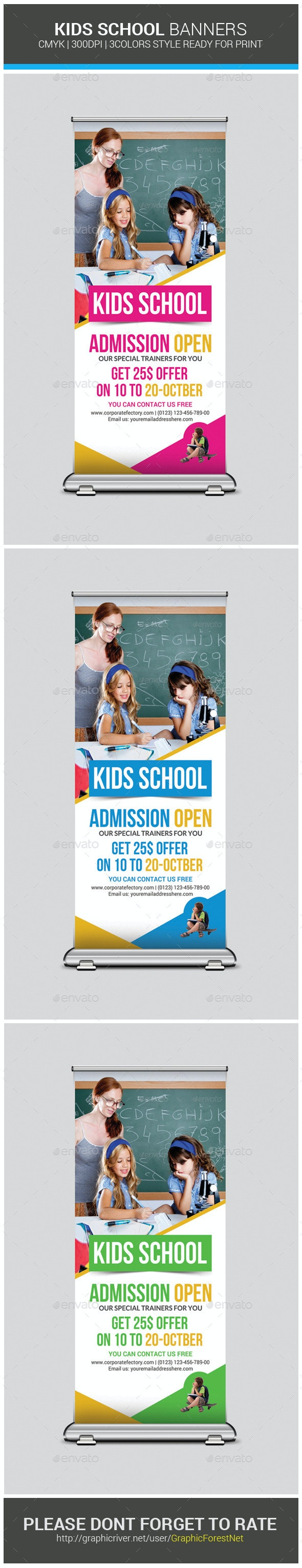 Kids School Rollup Banner Psd Template - Signage Print Templates