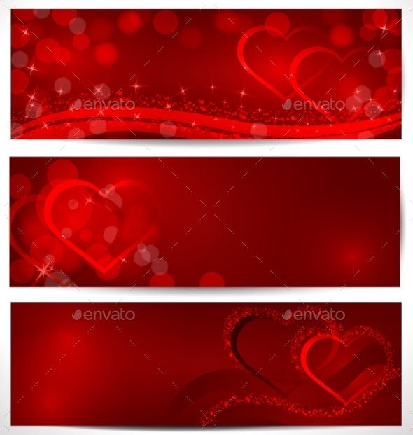Three Sparkling Hearts Banners  - Backgrounds Decorative
