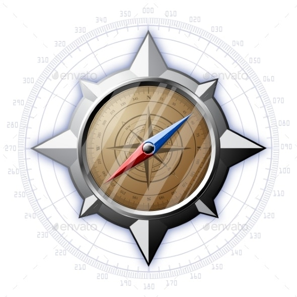 Steel Compass with Scale - Man-made Objects Objects