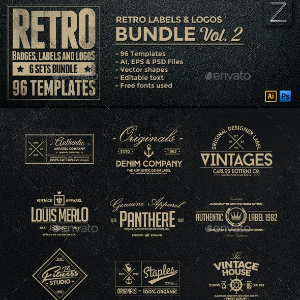 96 Retro Vintage Badges & Labels Bundle Vol.2