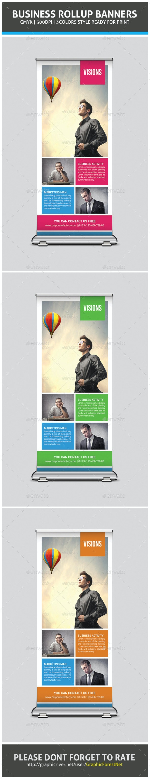 Corporate Business Rollup Banner Psd Template - Signage Print Templates