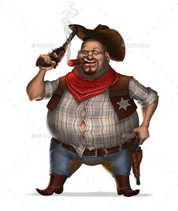 Sheriff with Cigar and Two Revolvers - People Illustrations