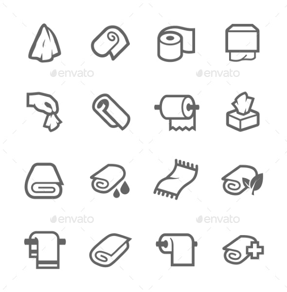 Towels and Napkins Icons - Objects Icons