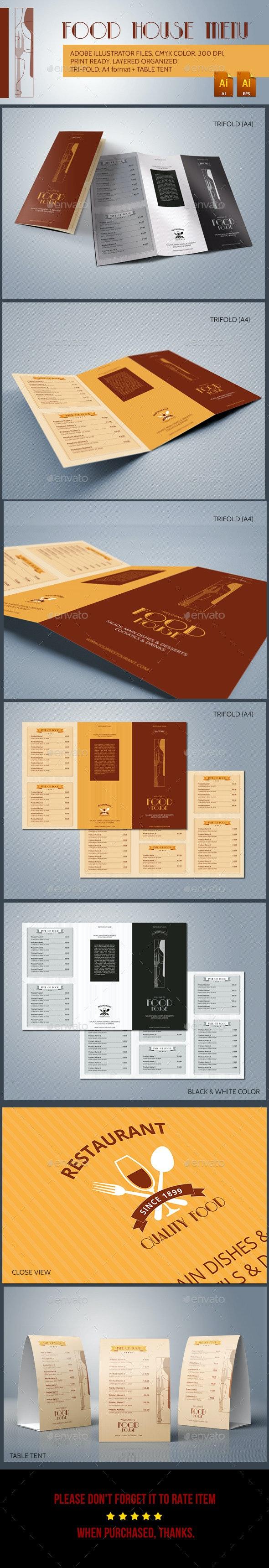 Food House Menu - Food Menus Print Templates