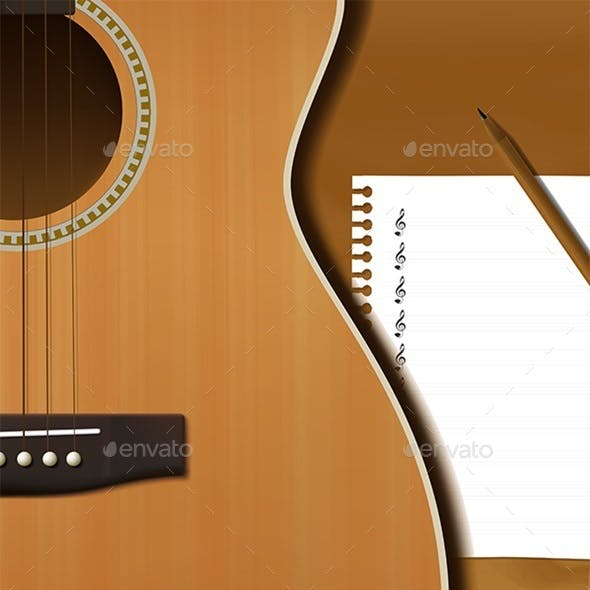 Guitar and Musical Paper Notes