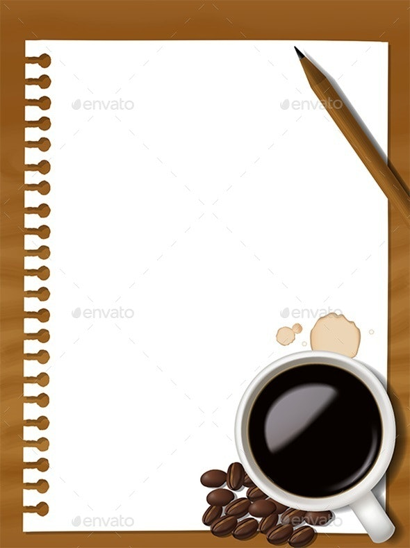 Notebook with Pencil and a Cup of Coffee - Backgrounds Decorative