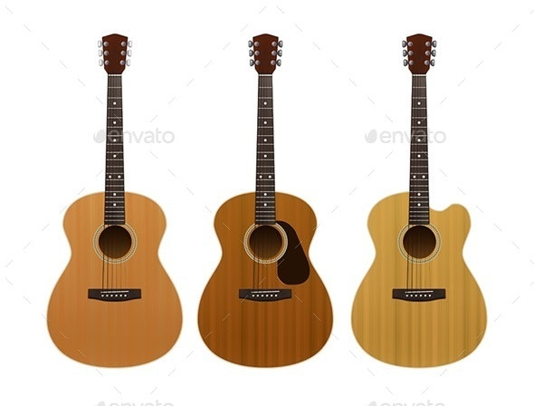 Set of Acoustic Guitars - Man-made Objects Objects
