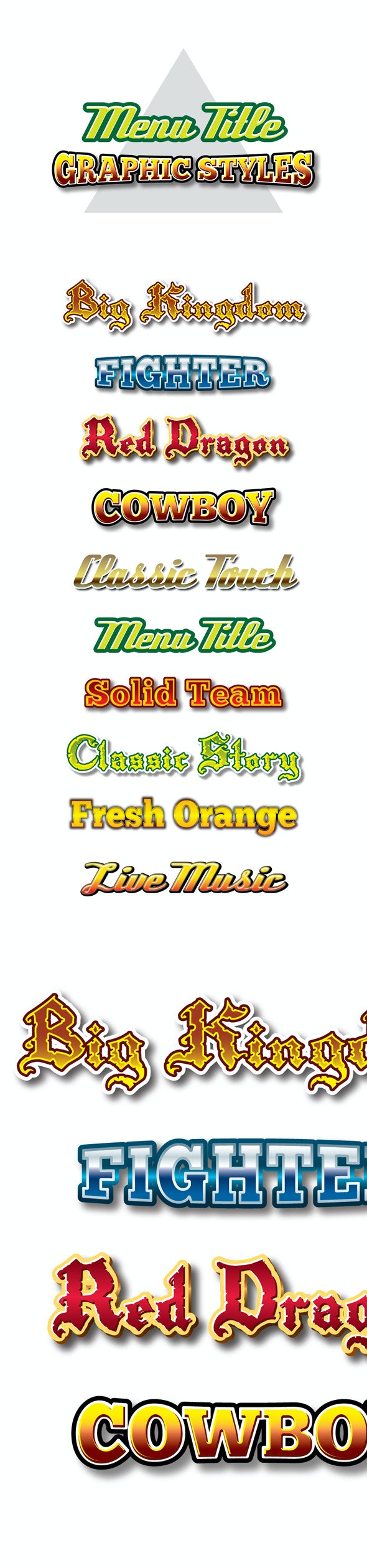 Menu Title Graphic Styles for Ai - Styles Illustrator