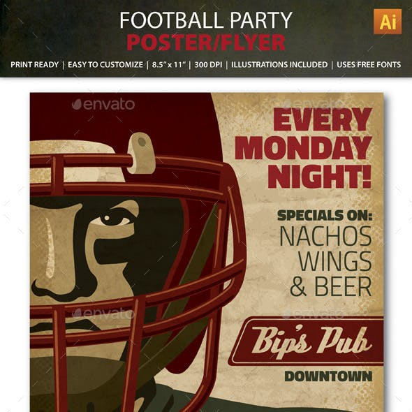 Retro Football Party / Event Poster or Flyer