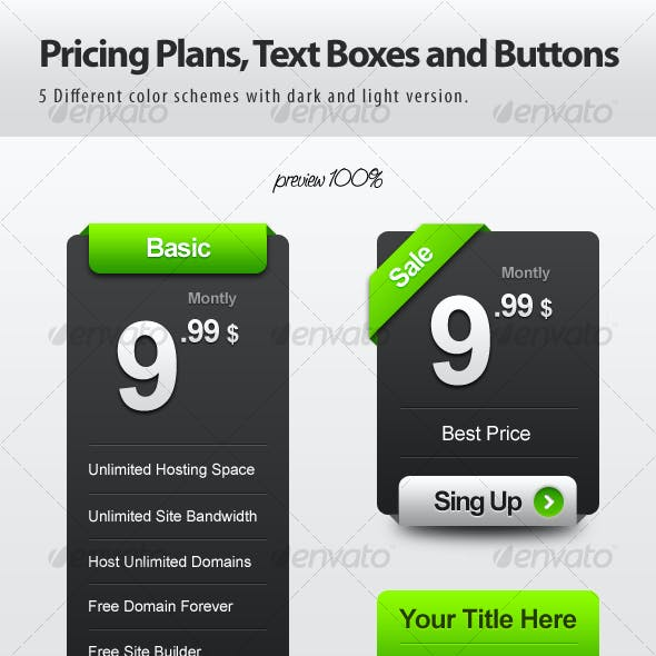 Pricing Plans, Text Boxes and Buttons