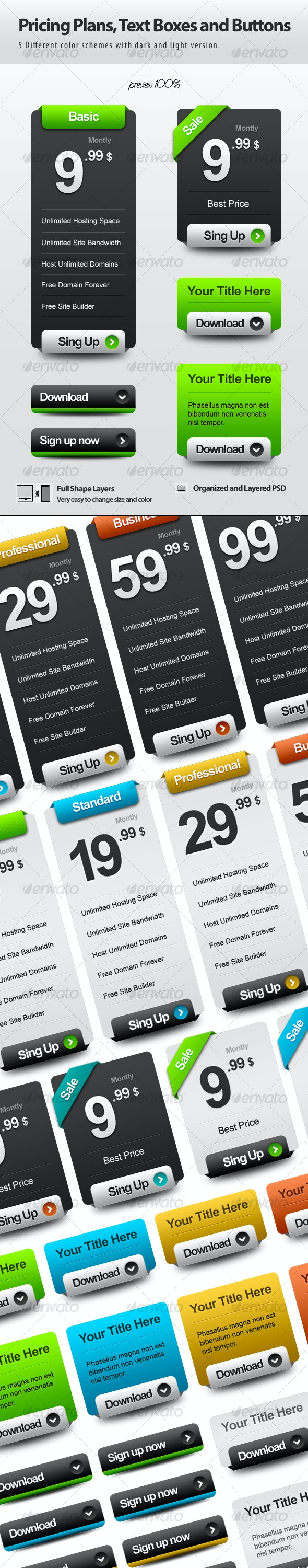 Pricing Plans, Text Boxes and Buttons - Miscellaneous Web Elements
