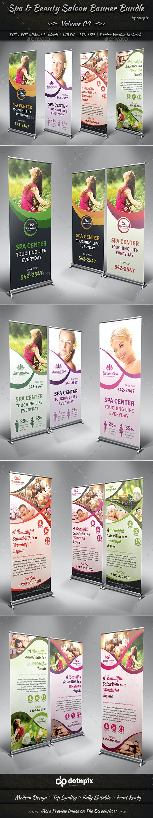 Spa & Beauty Saloon Banner Bundle | Volume 4 - Signage Print Templates