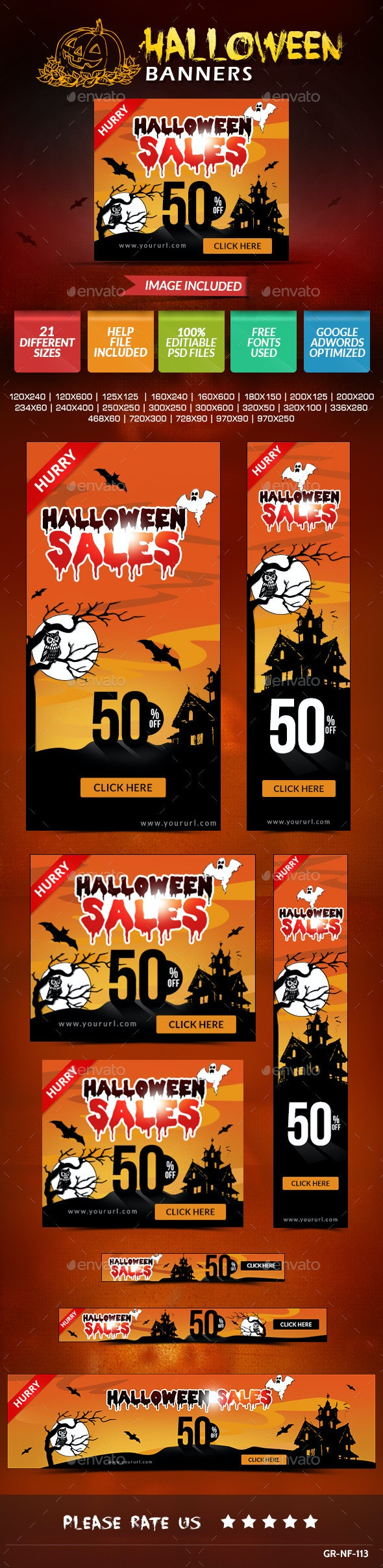 Halloween Web Banner Design Set - Banners & Ads Web Elements