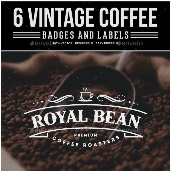 6 Vintage Coffee Labels and Badges