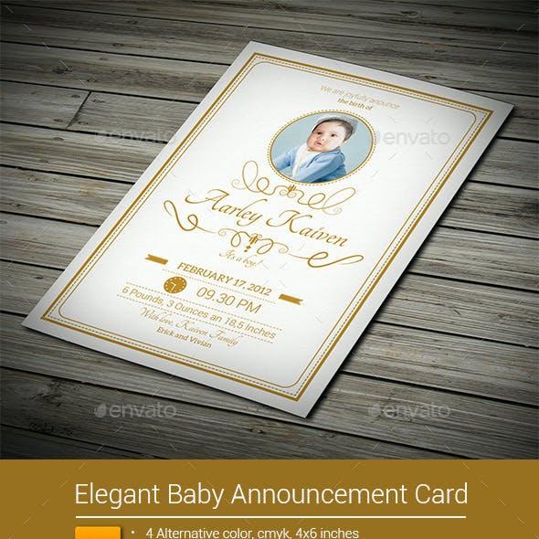 Elegant Baby Announcement Card
