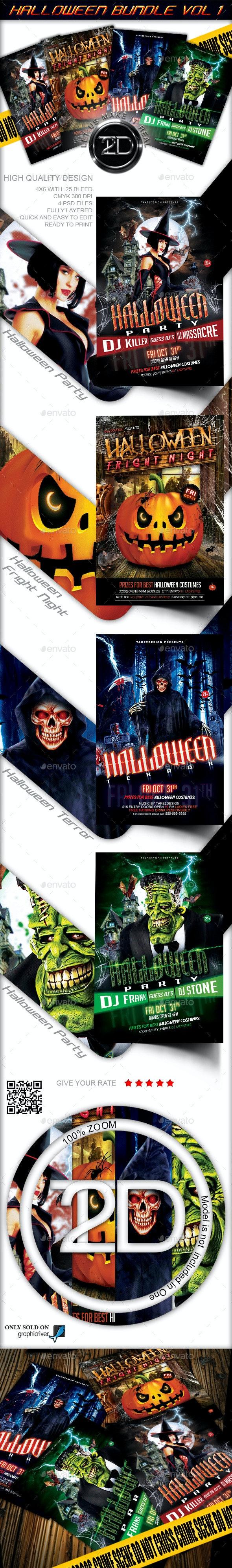 Halloween Flyer Bundle Vol1 - 4 in 1 - Clubs & Parties Events