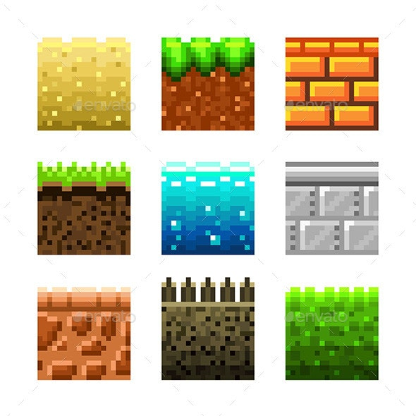 Textures for Platformers Pixel Art Icons - Backgrounds Decorative
