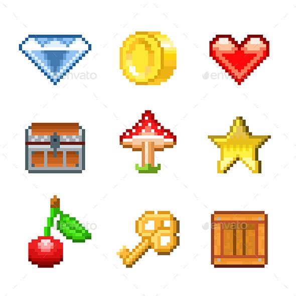 Pixel Objects for Games Icons - Miscellaneous Vectors