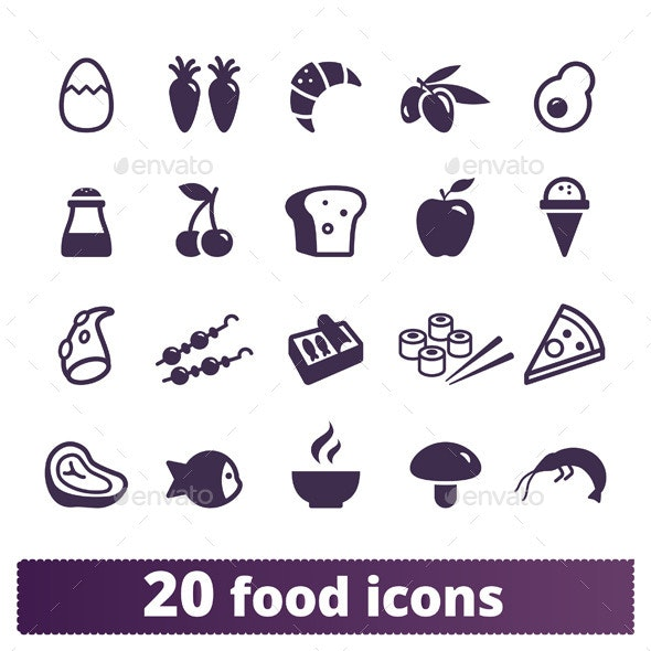 Food Icons: Vector Set. - Food Objects