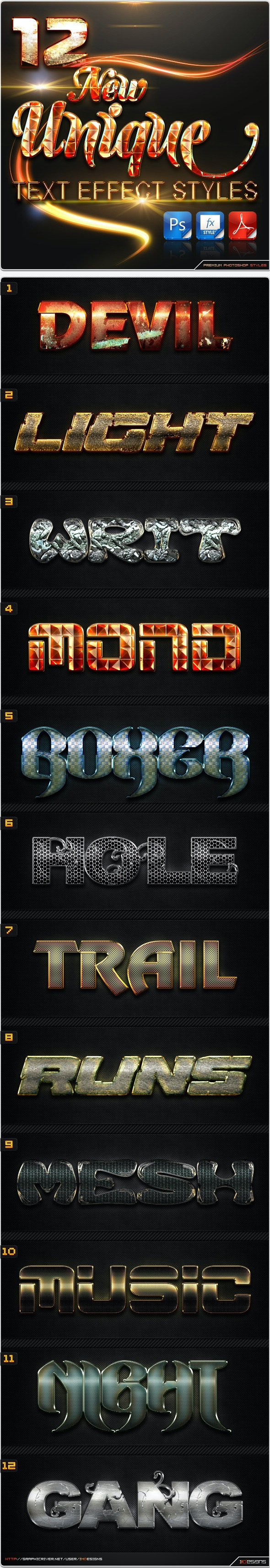 12 New Unique Text Effect Styles - Text Effects Styles