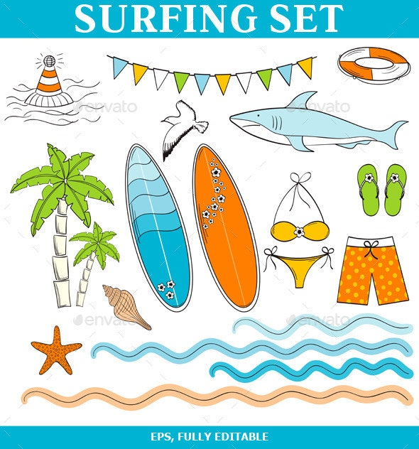 Hand Drawn Surfing Set - Sports/Activity Conceptual