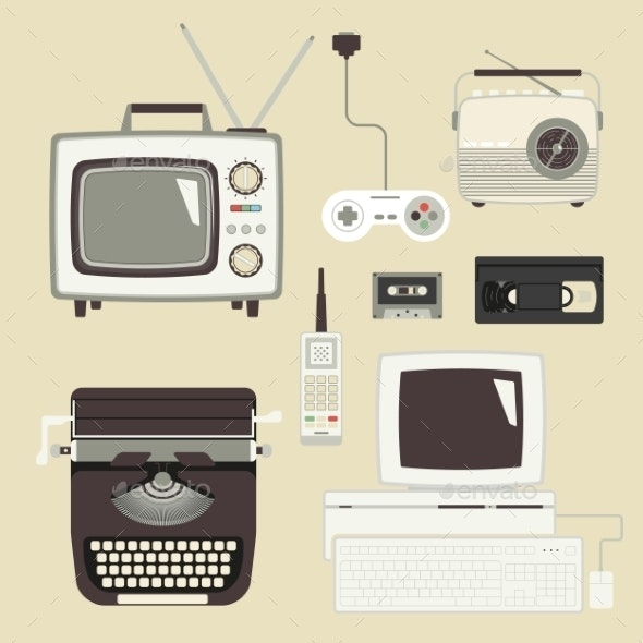 Retro Devices Set - Computers Technology
