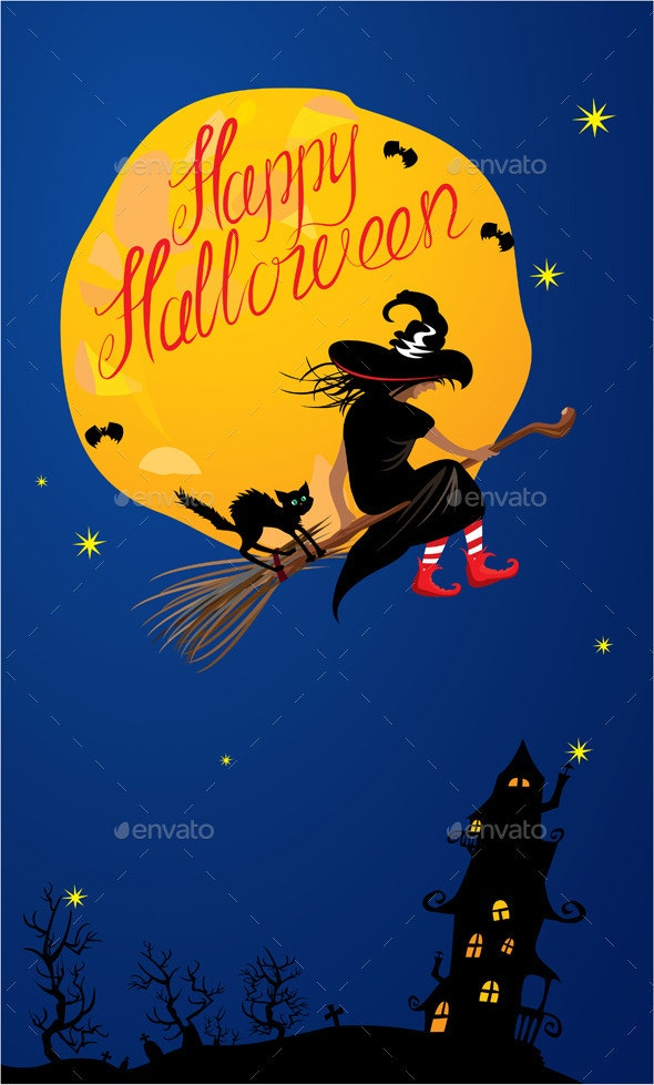Card of Halloween Night - Witch and Black Cat  - Halloween Seasons/Holidays