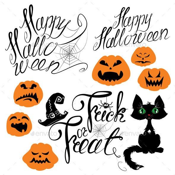 Set of Halloween Elements - Pumpkin Cat Spider - Halloween Seasons/Holidays