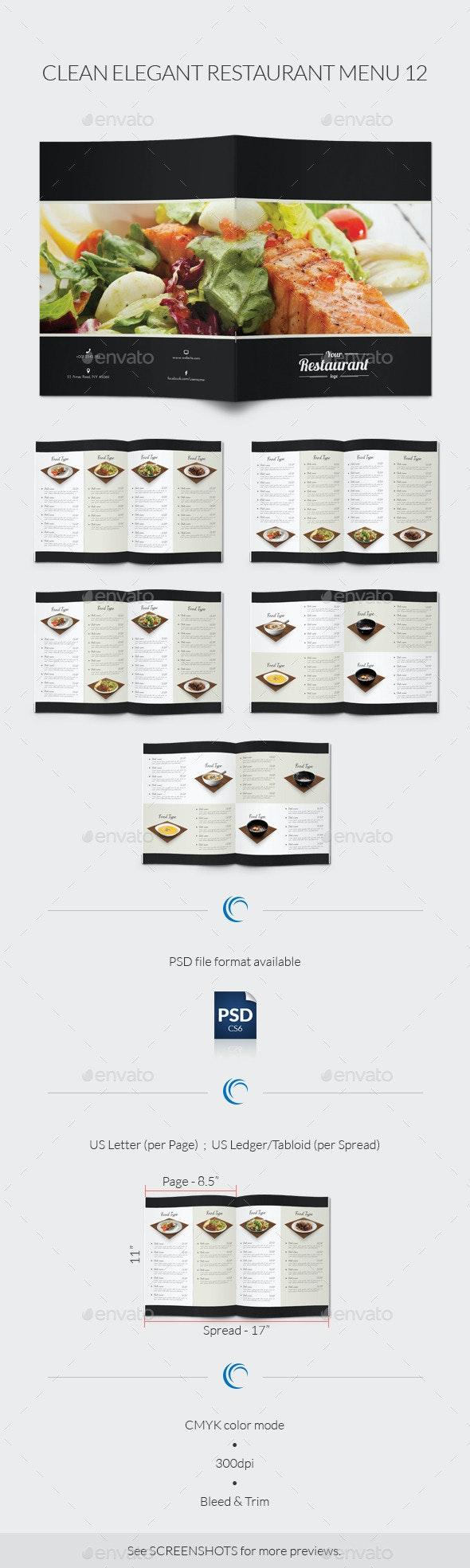 Clean Elegant Restaurant Menu 12 - Food Menus Print Templates