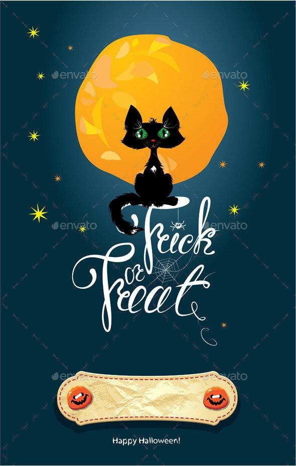 Halloween Night Cat on Moon and Sky Background - Halloween Seasons/Holidays