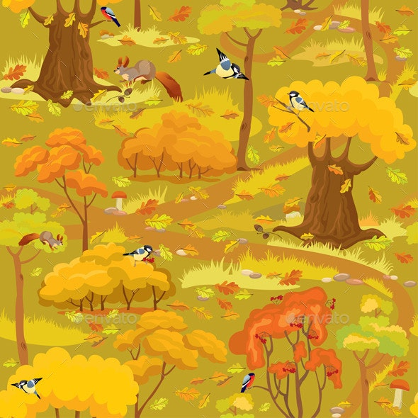 Seamless Pattern - Autumn Forest Landscape  - Seasons Nature