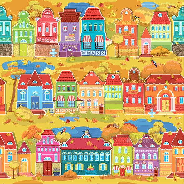 Seamless Pattern with Decorative Colorful Houses  - Buildings Objects