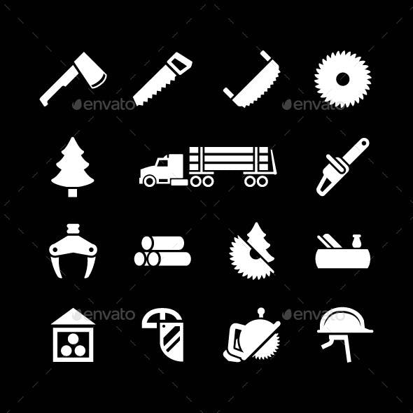 Set Icons of Sawmill, Timber and Lumber