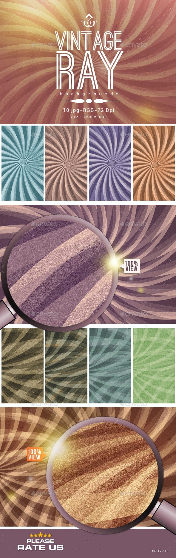 Vintage Ray Background Collection - Backgrounds Graphics