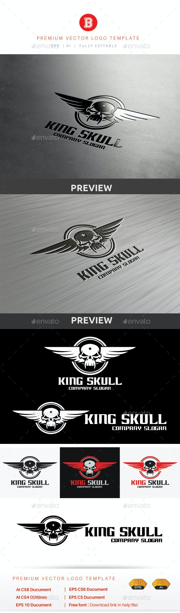 King Skull - Humans Logo Templates