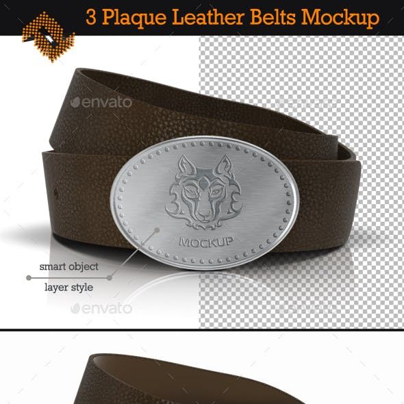 Plaque Leather Belts / Buckle Logo Mockup