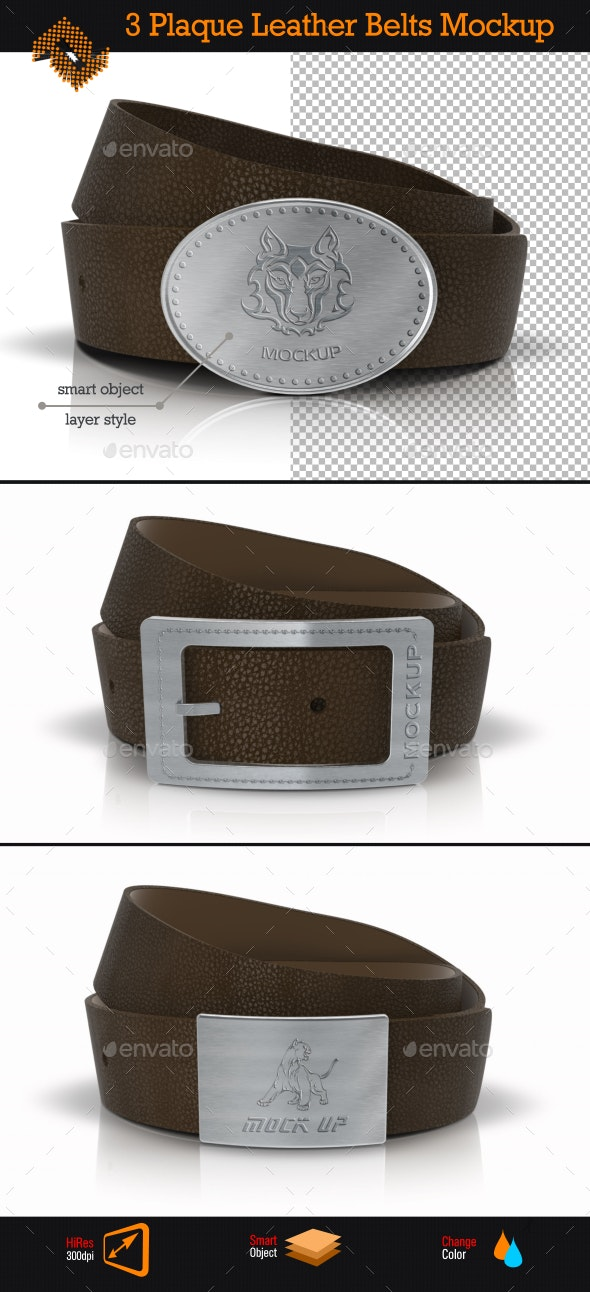 Plaque Leather Belts / Buckle Logo Mockup - Miscellaneous Apparel