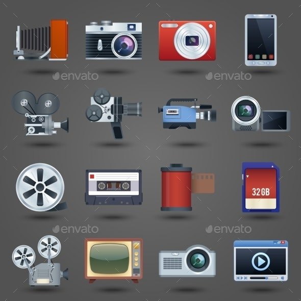 Photo Video Icons Set - Media Technology