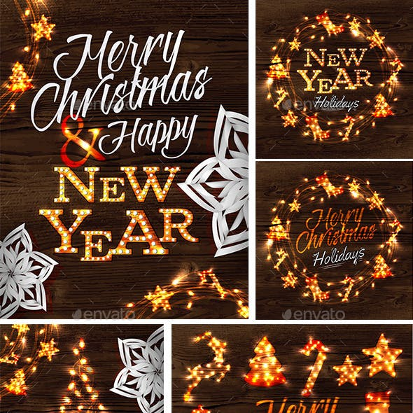 Set of Merry Cristmas and Happy New Year Posters