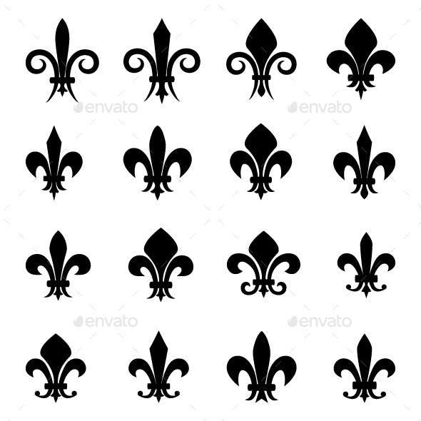 Set of Fleur De Lis Symbols