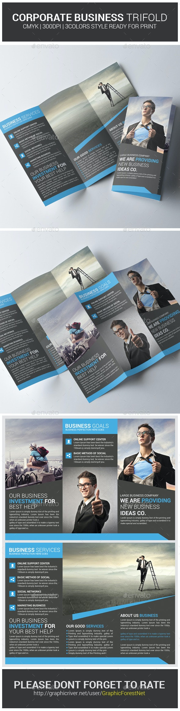 Business Trifold Brochure PSD Template - Corporate Brochures