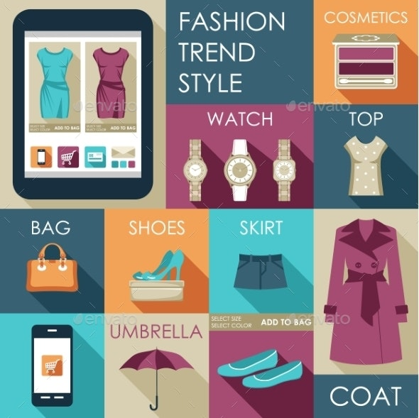 Set of Flat Design Fashion Icon - Retail Commercial / Shopping