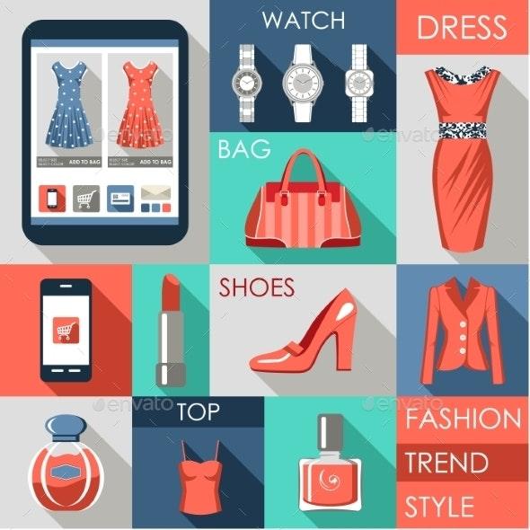 Set of Flat Design Fashion Icon - Retail Commercial / Shopping
