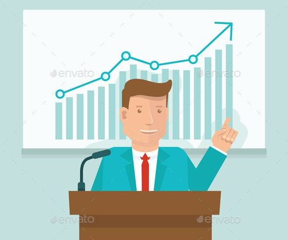 Vector Business Conference Concept in Flat Style - People Characters