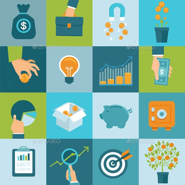 Vector Set of Business Concepts in Flat Style - Business Conceptual